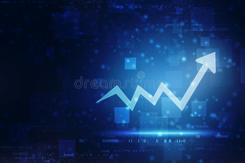 Futuristic raise arrow chart digital transformation abstract technology background, stock market and investment economy background stock image