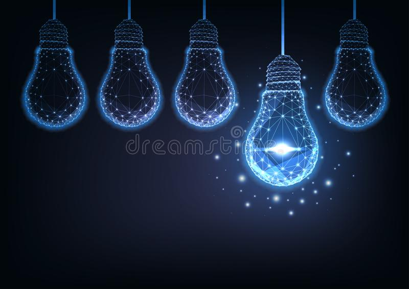Futuristic raw of glowing low polygonal electric light bulbs on dark blue background. stock illustration