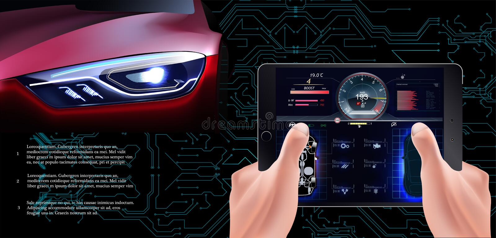 The futuristic red car on a technological background. Scanning Car,. Analysis and Diagnostics Vehicle, HUD UI Elements, Selection of Car Parts vector illustration