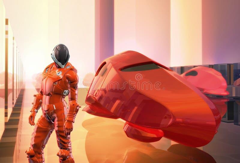 Futuristic red pilot car. In 3d vector illustration