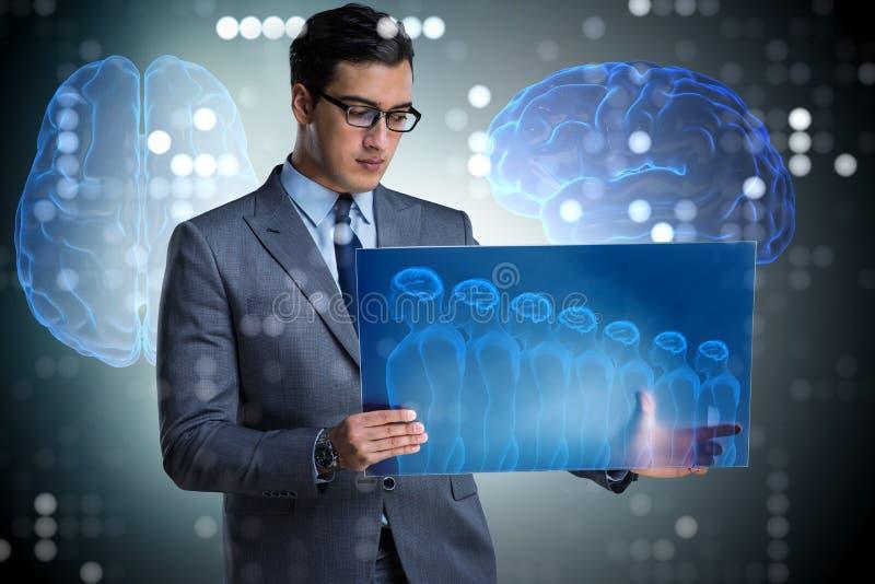 The futuristic remote diagnostics concept with businessman royalty free stock photos