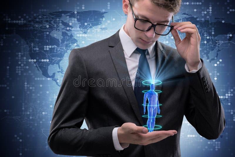 The futuristic remote diagnostics concept with businessman royalty free stock image