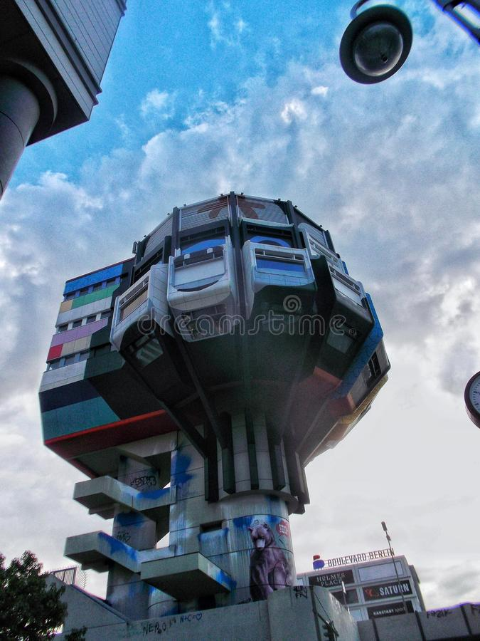 The futuristic 1970s building of the german Restaurant Bierpinsel. stock image