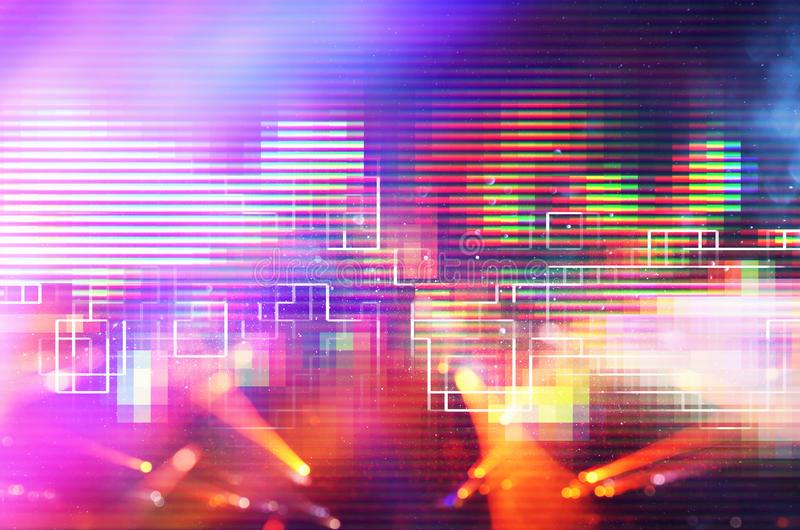 Futuristic retro background of the 80`s retro style. Digital or Cyber Surface. neon lights and geometric pattern. Futuristic retro background of the 80`s retro stock photo
