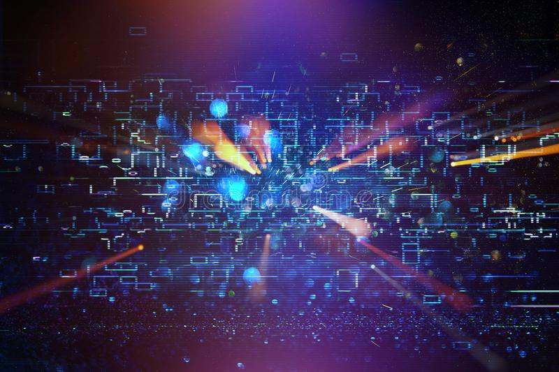 Futuristic retro background of the 80`s retro style. Digital or Cyber Surface. neon lights and geometric pattern royalty free stock photography