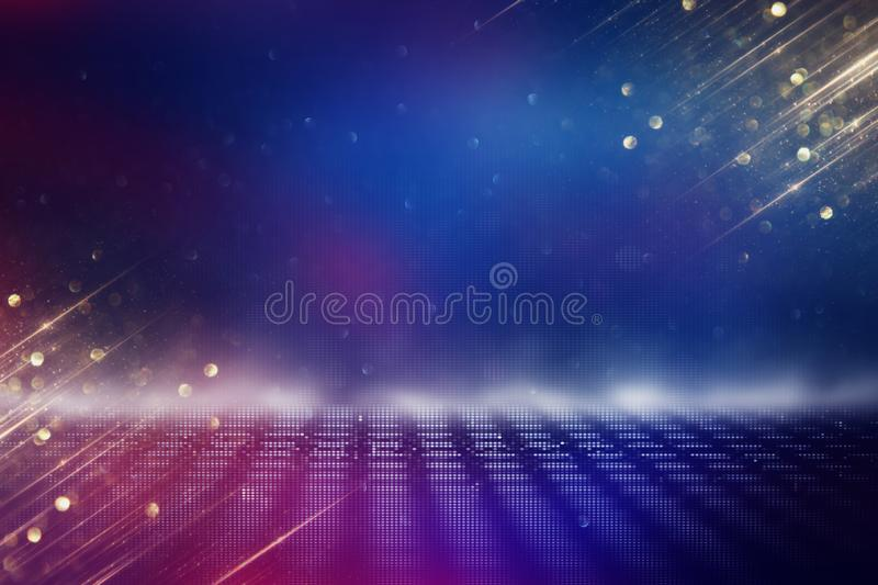 Futuristic retro background of the 80`s retro style. Digital or Cyber Surface. neon lights and geometric pattern stock illustration