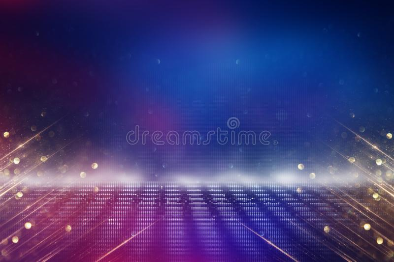 Futuristic retro background of the 80`s retro style. Digital or Cyber Surface. neon lights and geometric pattern vector illustration