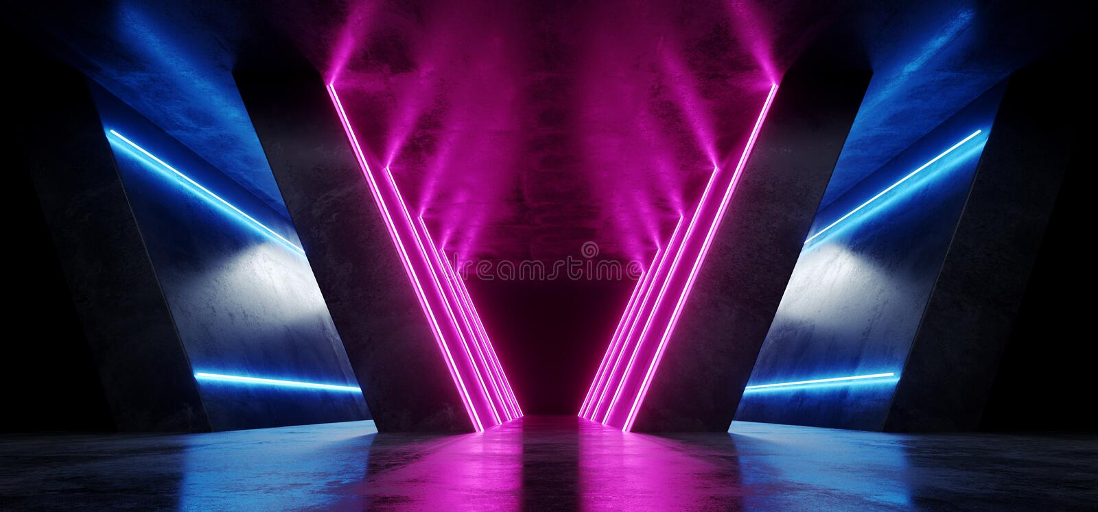 Futuristic Retro Neon Dance Stage Show Fashion Alien Sci Fi Modern Dark Grunge Reflective Concrete Empty Space Podium Background. Glowing Lines 3D Rendering vector illustration