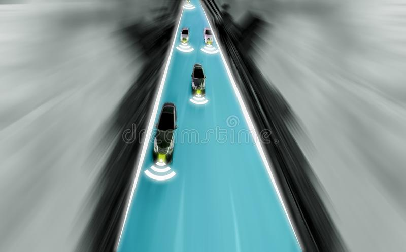 Futuristic road of genius for intelligent self driving cars, Art. Ificial Intelligence system,Detecting objects and changing wrong lanes of car,With concept of stock photo