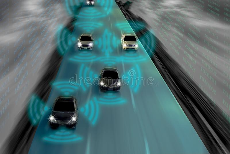 Futuristic road of genius for intelligent self driving cars, Art. Ificial Intelligence system,Detecting objects and changing wrong lanes of car,With concept of royalty free stock photo