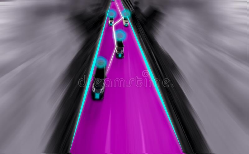 Futuristic road of genius for intelligent self driving cars, Art. Ificial Intelligence system,Detecting objects and changing wrong lanes of car,With concept of stock image