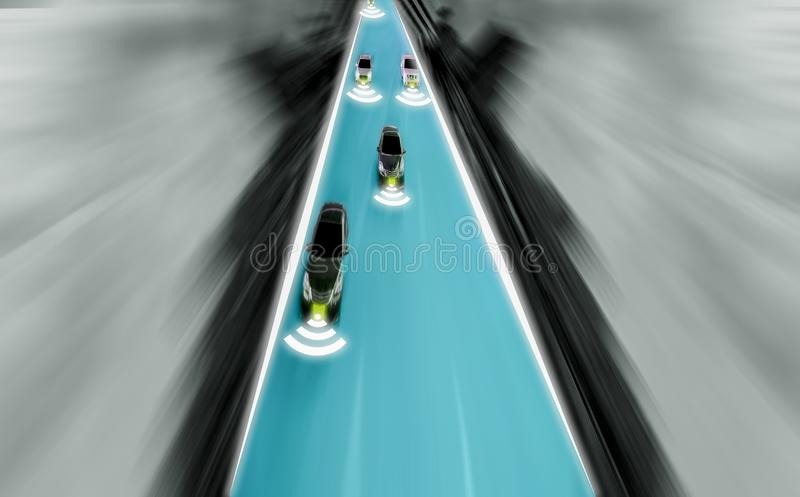 Futuristic road of genius for intelligent self driving cars, Art. Ificial Intelligence system,Detecting objects and changing wrong lanes of car,With concept of stock photos