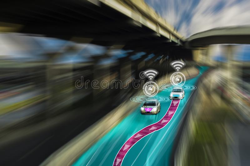 Futuristic road of genius for intelligent self driving cars,Artificial Intelligence system,Detecting objects,changing wrong lanes. Car,concept future vehicle royalty free stock photography