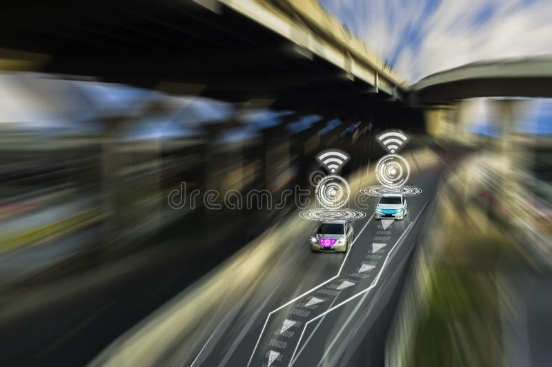 Futuristic road of genius for intelligent self driving cars,Artificial Intelligence system,Detecting objects,changing wrong lanes. Car,concept future vehicle royalty free stock photos