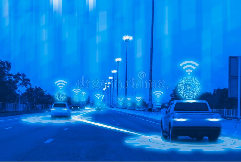 Futuristic road genius intelligent self driving smart cars,Artificial Intelligence system,Detecting objects,changing wrong lanes. Car,concept future vehicle royalty free stock photo