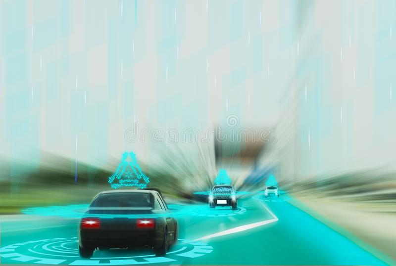 Futuristic road genius intelligent self driving smart cars,Artificial Intelligence system,Detecting objects,changing wrong lanes. Car,concept future vehicle royalty free stock photography