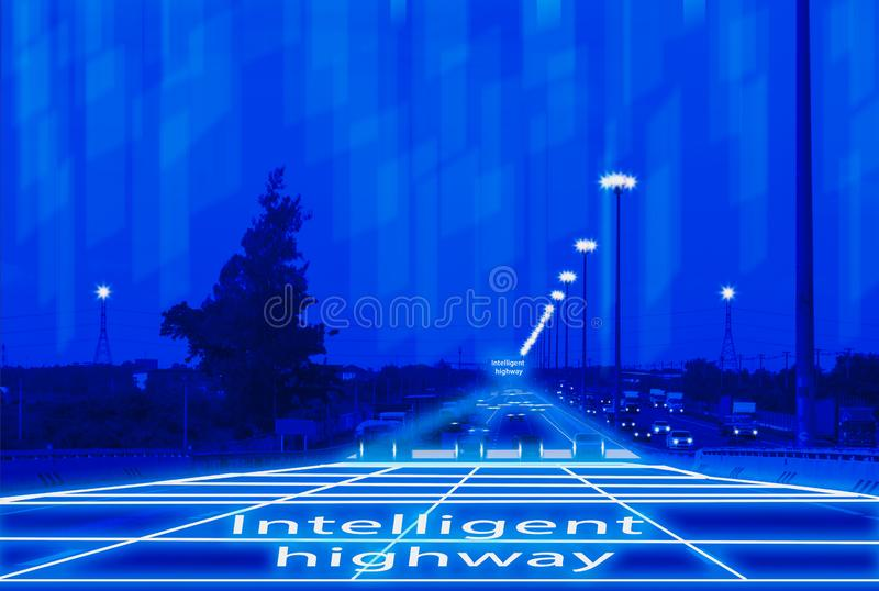 Futuristic road genius intelligent self driving smart cars,Artificial Intelligence system,Detecting objects,changing wrong lanes. Car,concept future vehicle royalty free stock images