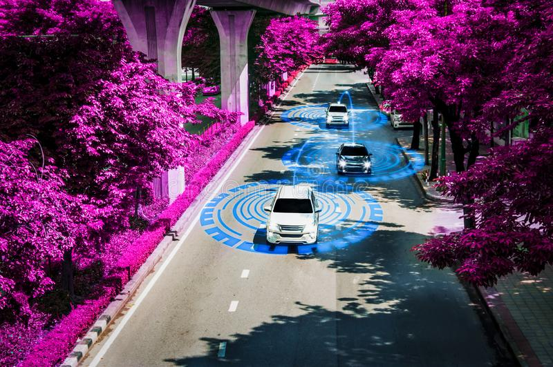 Futuristic road genius intelligent self driving smart cars,Artificial Intelligence system,Detecting objects,changing wrong lanes. Car,concept future vehicle royalty free stock image