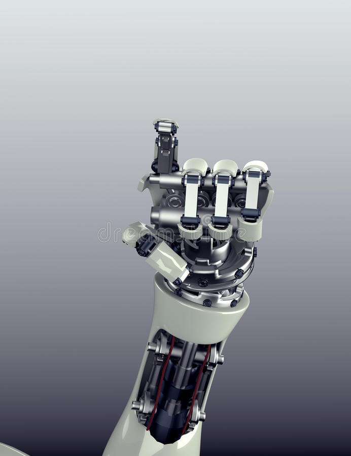 Futuristic robot arm with hand gesture vector illustration