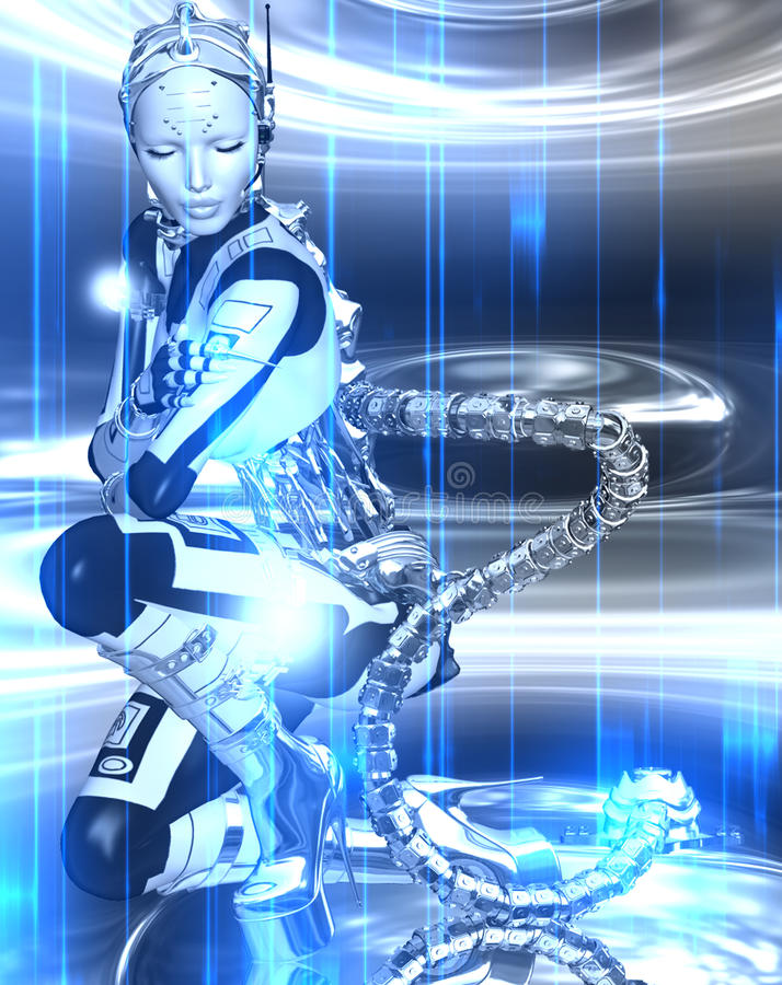 Futuristic robot girl in blue and white metallic gear on an abstract background. stock illustration