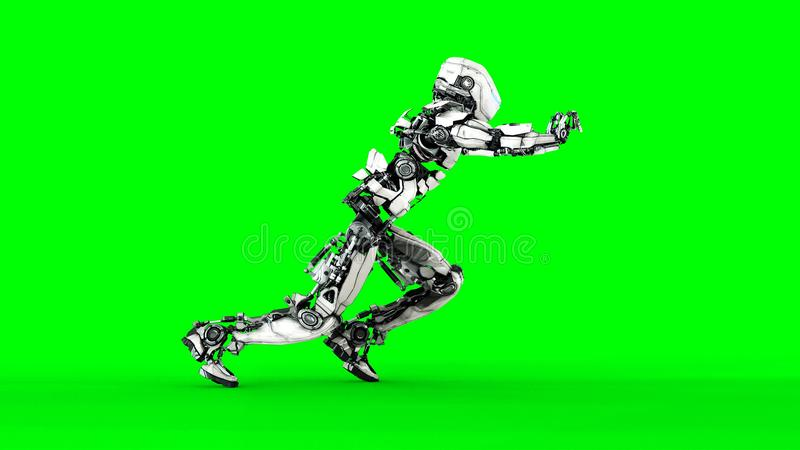 Futuristic robot isolate on green screen. Realistic 3d render. Futuristic robot isolate on green screen. Realistic 3d render royalty free illustration