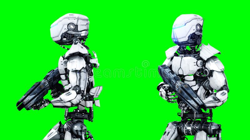 Futuristic robot isolate on green screen. Realistic 3d render. stock illustration