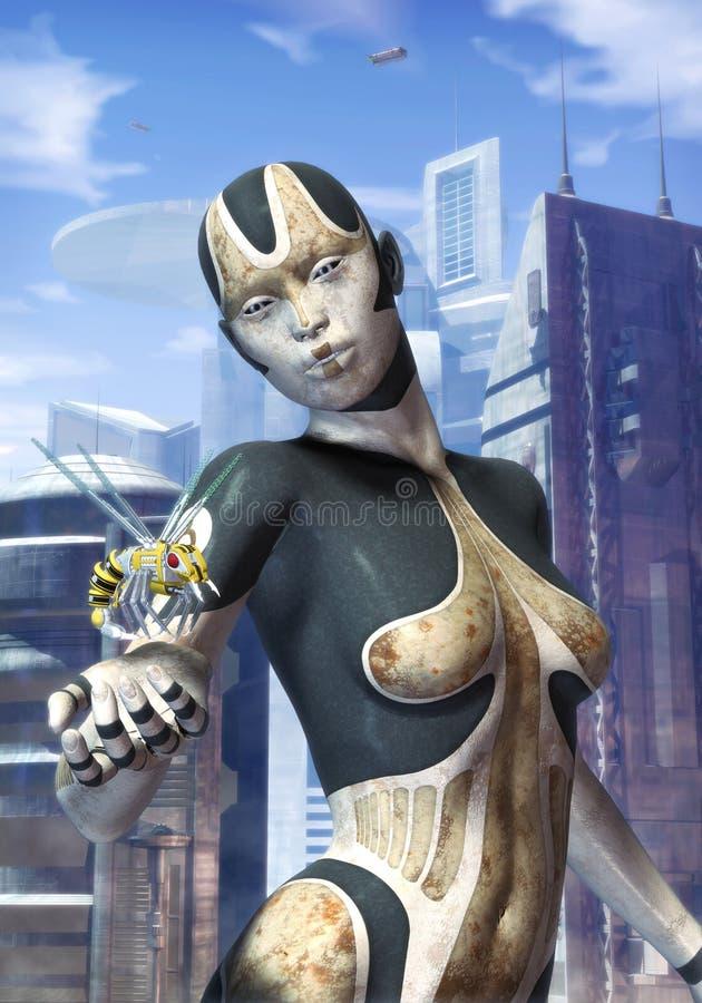 futuristic robotkvinna för stad stock illustrationer