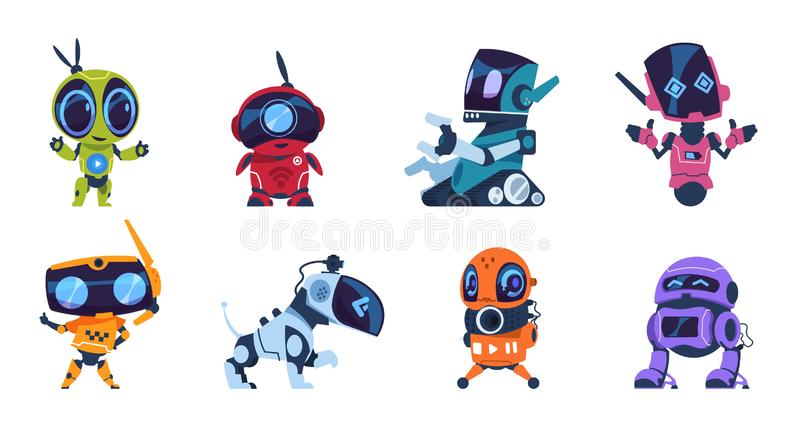 Futuristic robots. Cartoon modern AI characters of different types, set of personal assistants. Vector retro game design stock illustration