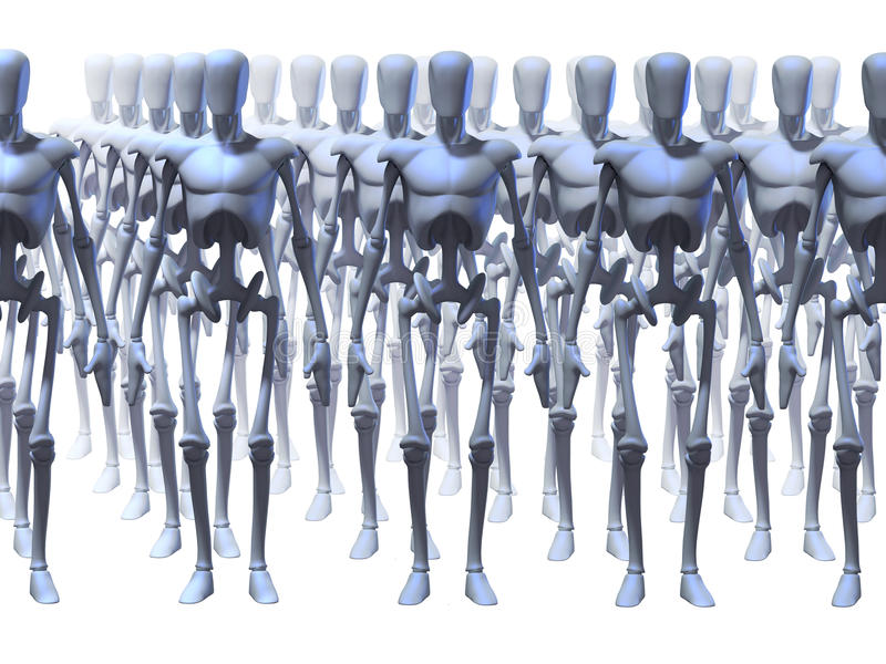 Futuristic Robots. Identical futuristic robots standing in different rows stock illustration