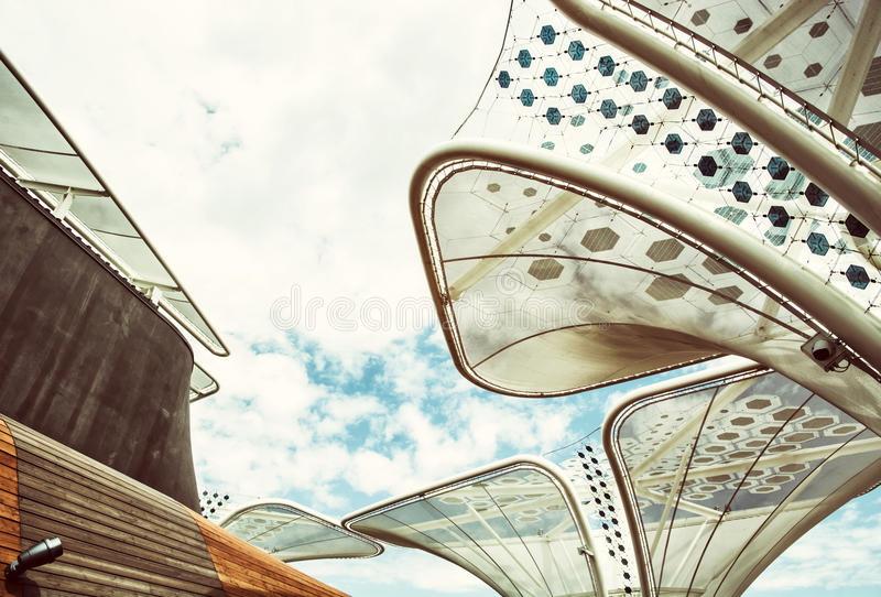 Futuristic roof on the exhibition Expo 2015, Milan, retro filter stock image