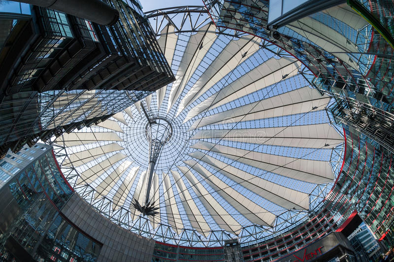 Futuristic roof at Sony Center, Potsdamer Platz, Berlin, Germany royalty free stock images