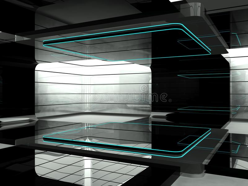Futuristic room. A room in a futuristic science laboratory stock illustration