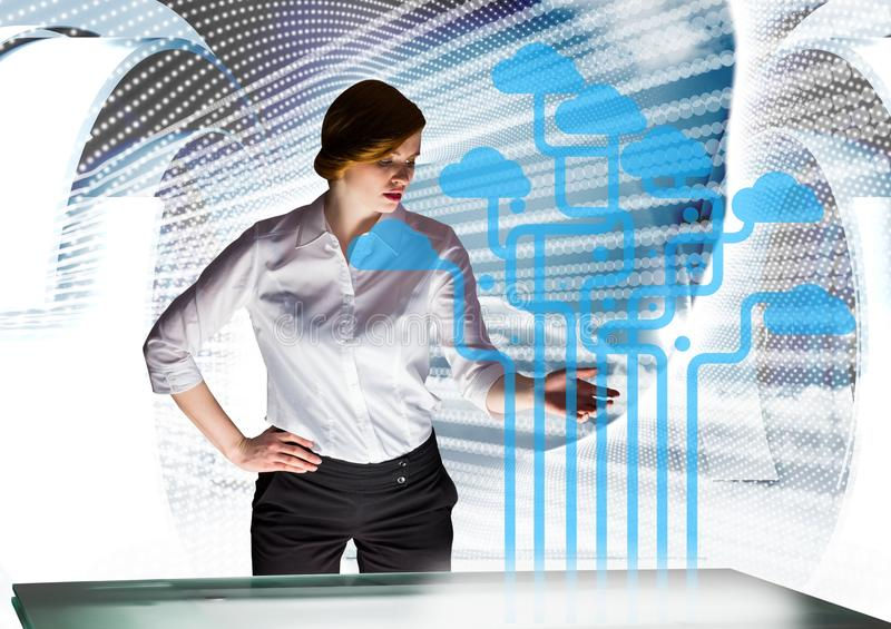 futuristic room interface. Business young woman with clouds stock illustration