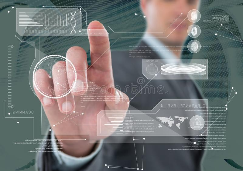 Futuristic room interface, dark background and a businessman stock image