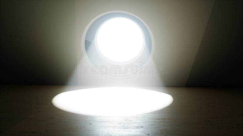 Futuristic room with round window. Volumetric light. Future concept. 3D Rendering, vector illustration