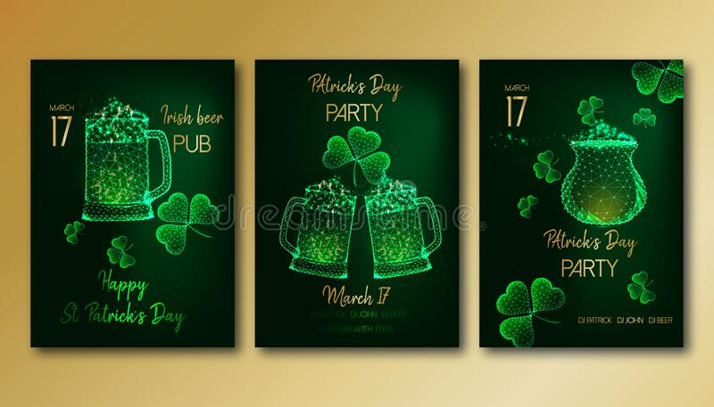 Saint Patrick Day party flyers set with glowing low poly beer mugs, clover leaves and gold pot. Futuristic Saint Patrick Day party flyers set template with royalty free illustration
