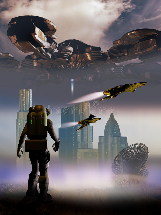 Futuristic scenes. Astronaut contemplating a landscape with a futuristic city and spaceships, overflew by a gigantic spatial station royalty free illustration