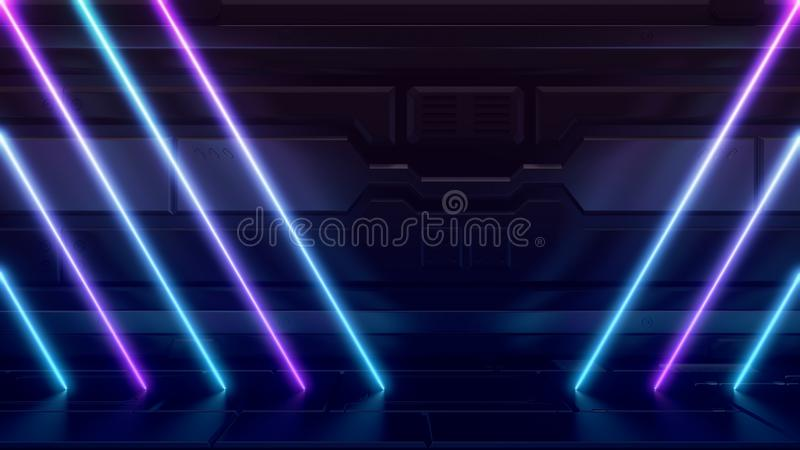 Futuristic Sci-Fi Abstract Blue And Purple Neon Light Shapes On Reflective METAL SPACESHIP WALL. Empty space for the installation stock illustration