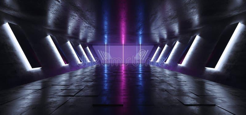 Futuristic Sci Fi Alien Ship Modern Dark Empty Reflective Grunge Concrete Tunel Corridor With Big Hall Wall Lights And Neon Blue royalty free illustration