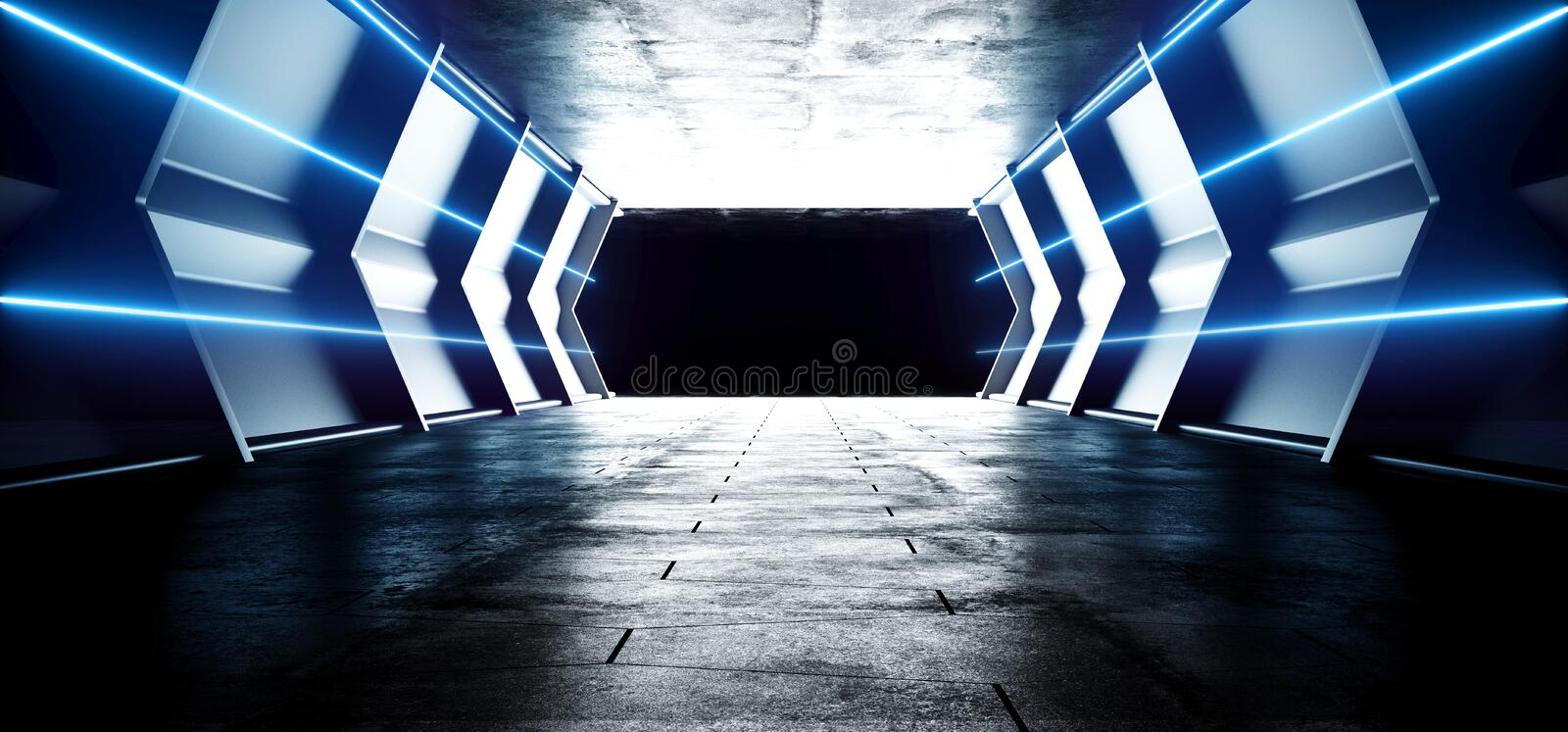 Futuristic Sci FI Alien Spaceship Neon Laser Led Blue Glowing Tunnel Metal Reflection Grunge Concrete Floor Wet Gate Virtual vector illustration