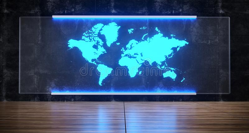 Futuristic Sci-FI Artificial Intelligence Concept World Map Hologram On Concrete Wall Glass With Floor Reflections 3D Rendering vector illustration