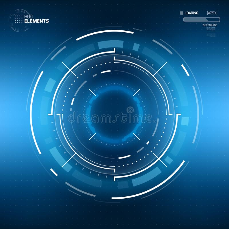 Futuristic Sci-Fi Circular HUD Element. Futuristic Sci-Fi HUD User Interface Circle Element Virtual Reality Design. Abstract Background. EPS 10 vector illustration
