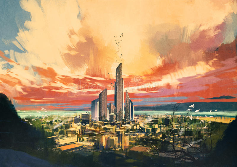 Futuristic sci-fi city with skyscraper. Digital painting of futuristic sci-fi city with skyscraper at sunset ,illustration stock illustration