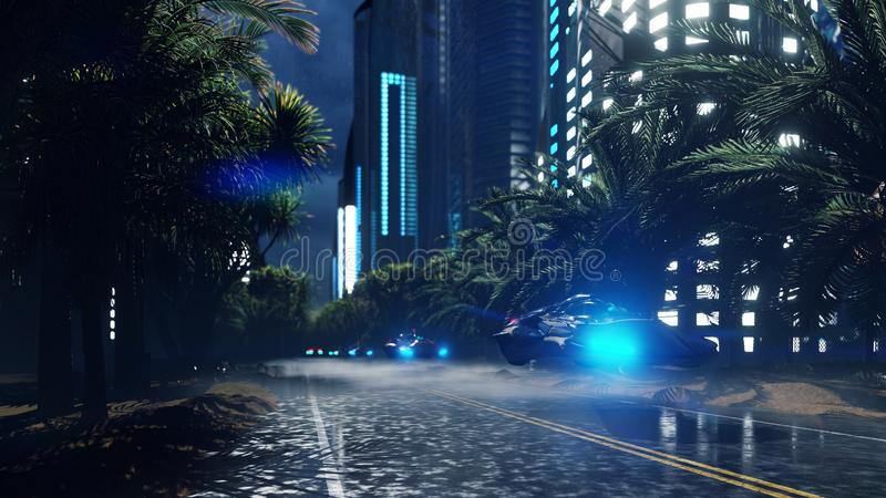 Futuristic sci-fi flying cars fly over the night wet highway, through the night city. The concept of the future. 3D vector illustration