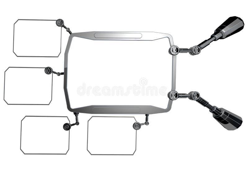 Futuristic sci-fi metal element . Futuristic monitor, display. Future concept. stock illustration