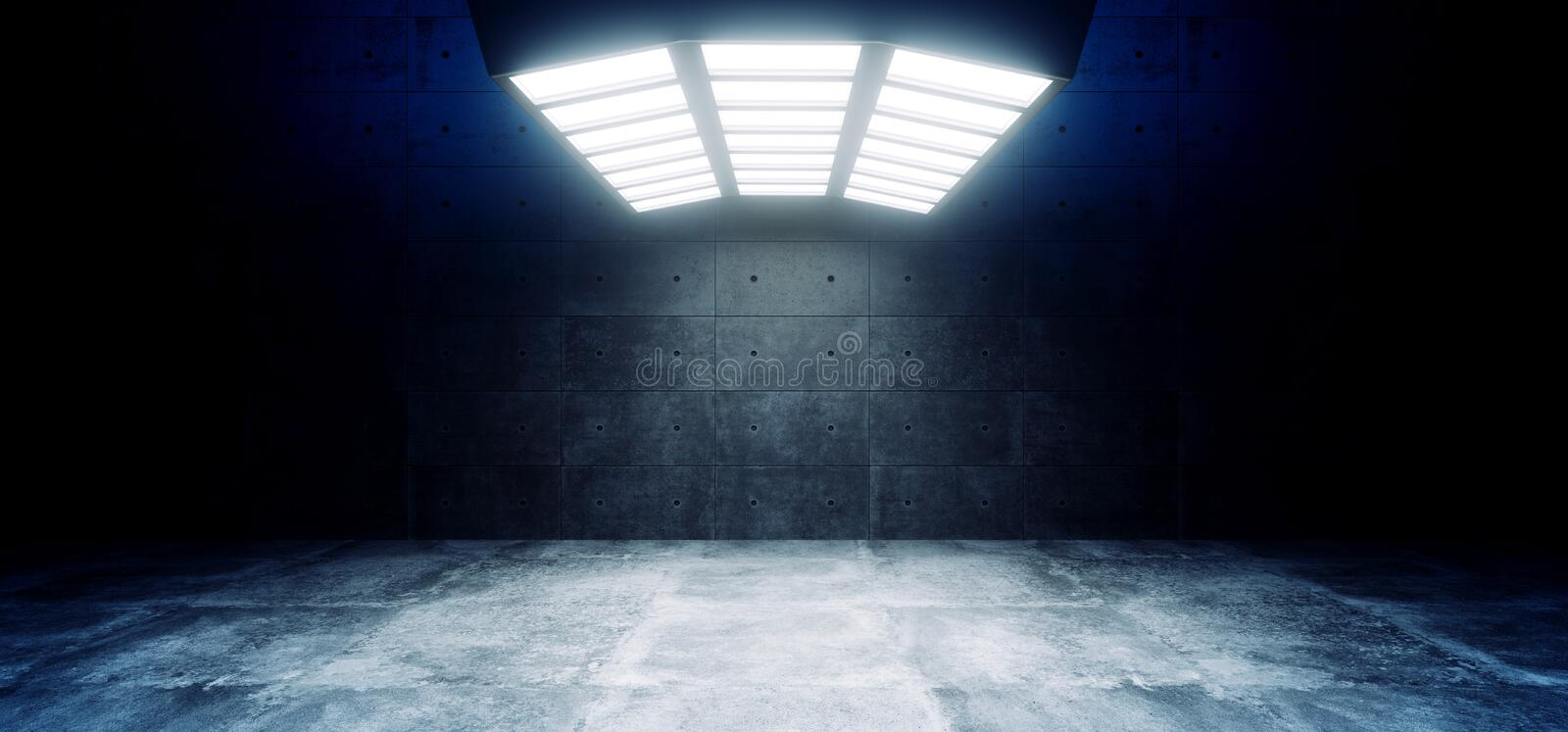 Futuristic Sci Fi Modern Empty Big Hall Dark Grunge Reflective Concrete Curved Big White Blue Lights Studio Stage Empty Showroom vector illustration