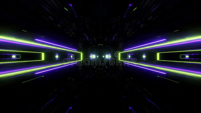 Futuristic science-fiction lights glowing tunnel corridor 3d illustration background stock illustration