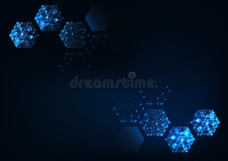 Futuristic scientific hexagonal dark blue background with space for text. royalty free illustration