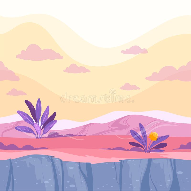 Futuristic seamless ground. Moon strange alien land rockie surface 2d game fantasy landscape vector illustration