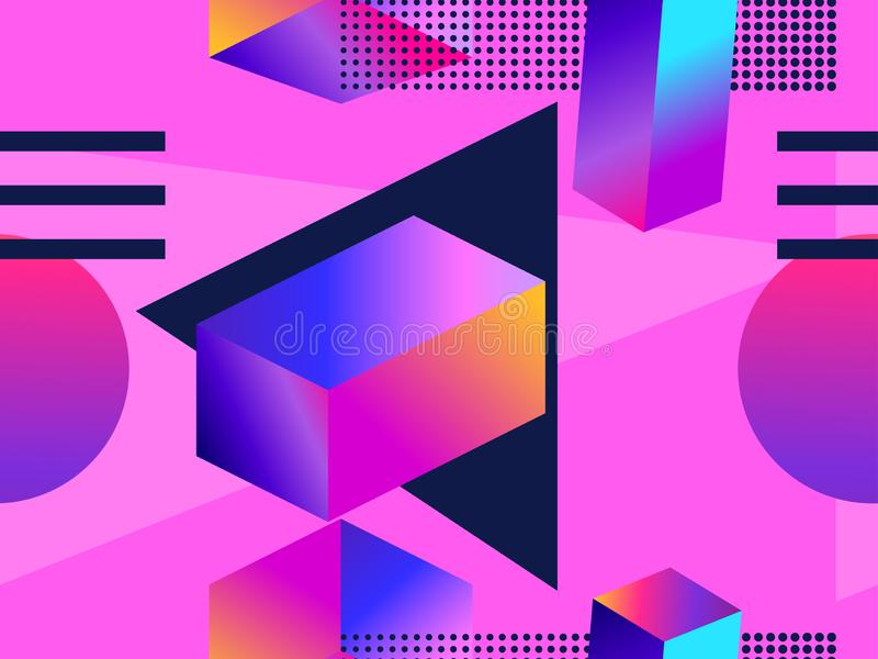 Futuristic seamless pattern with geometric shapes. Gradient with purple tones. 3d isometric shape. Synthwave retro background vector illustration